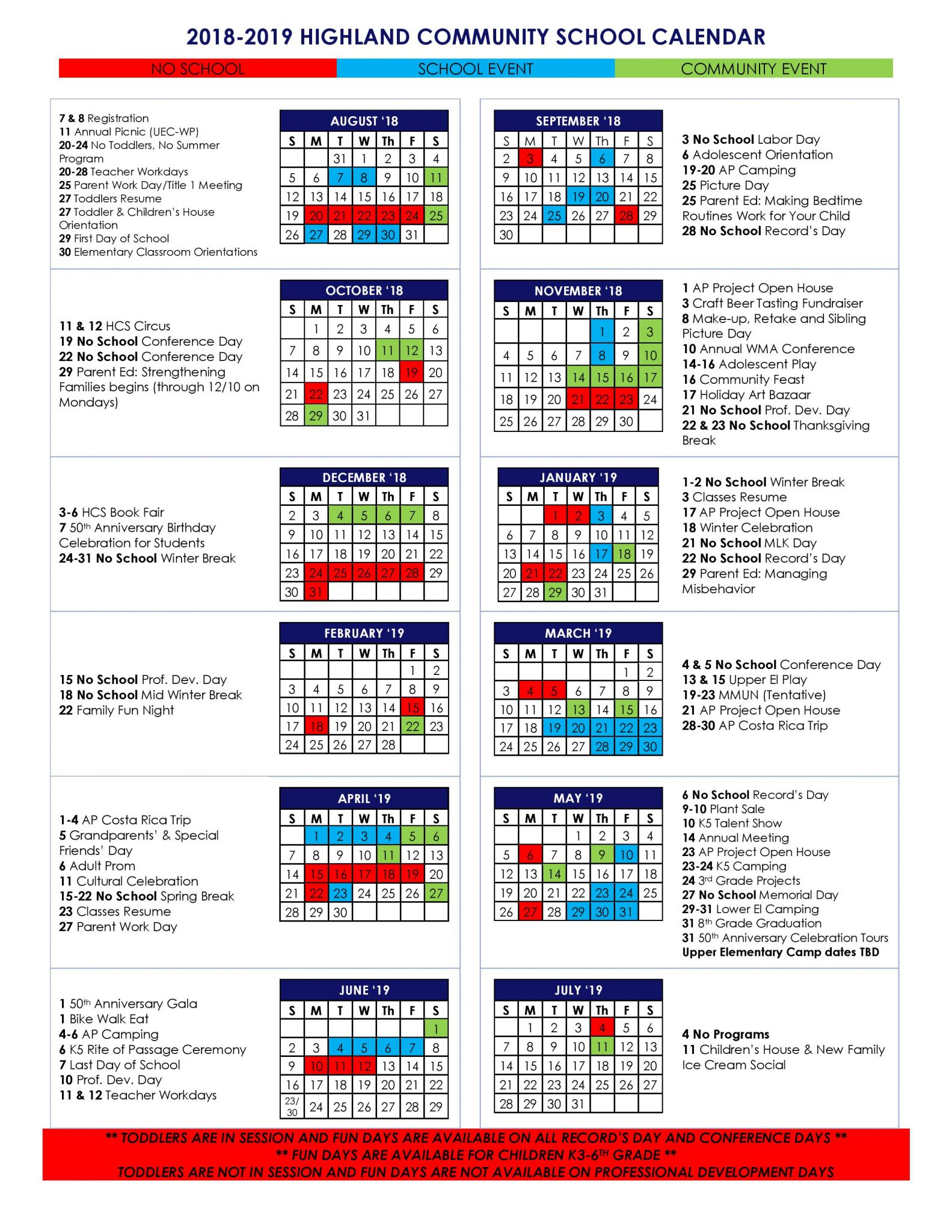 Events Calendar Highland Community School